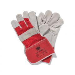 Splitlederen werkhandschoenen rood/grijs