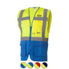 Reflectievest met zakken duokleur geel/blauw bedrukt