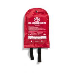 Blusdeken (branddeken) 100x100cm in nylon wandhouder