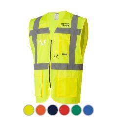 Reflectievest met zakken voorkant geel bedrukt