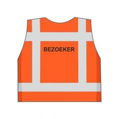 Fluor oranje BEZOEKER hesje achterkant