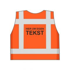 Oranje veiligheidshesje eigen tekst achterkant