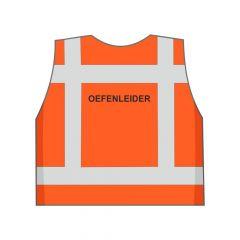 Fluor oranje oefenleider hesje achterkant