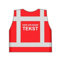 Rood veiligheidshesje eigen tekst achterkant