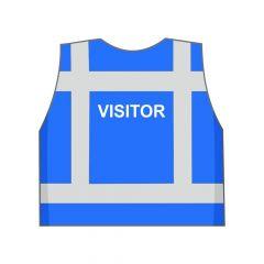 Blauw VISITOR hesje achterkant