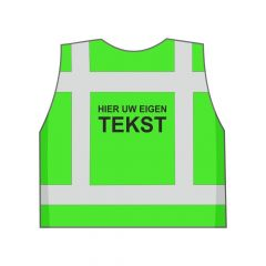 Groen veiligheidshesje eigen tekst achterkant