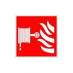 Rood pictogrambordje brandslang met vlammen
