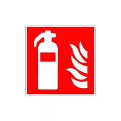 """Vinylsticker """"Brandblusser met vlam"""" (rood)"""